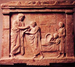 Το ανάγλυφο που αφιέρωσε ο Αρχίνος από τον Ωρωπό με την παράσταση της θεραπείας του.