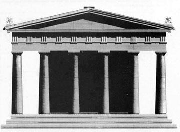 Αναπαράσταση της ανατολικής όψης του ναού της Νεμέσεως του 5ου αι. π.Χ. κατά τον John Peter Gandy Deering.