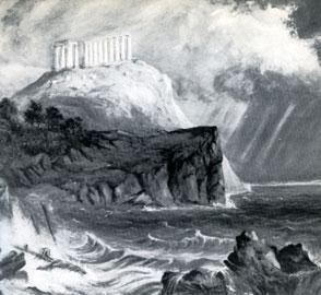 Ο ναός της Αθηνάς στις Καβοκολόνες. Πίνακας του W.H. Barlett, 1830.