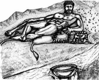Αναπαράσταση του Ηρακλή με το δοχείο των προσφορών, από το ιερό Σαλιάρη της Θάσου.