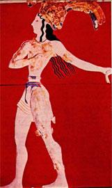 Ο «Πρίγκηψ με τα κρίνα» της Κνωσού σε αναπαράσταση του 1926 (Α. Έβανς και Ζιγιερόν, υιός).