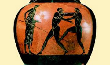 Κριτής και παγκρατιαστές. Πίσω όψη παναθηναϊκού αμφορέα (480-470 π.Χ.), Μουσείο Hood, Ανόβερο.