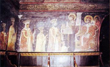 Ο ηγεμόνας Ιερεμίας Μοβίλα προσφέρει το μοντέλο της εκκλησίας που έχτισε στον Παντοκράτορα. Μονή Σουτσεβίτσα (1582-96).