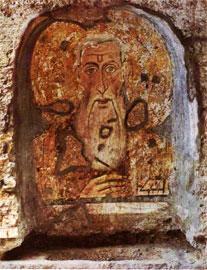 Το «Τρίτο Μάτι» στο μέτωπο του Αγίου Αββάκυρου. Άτριο της Βασιλικής της Santa Maria Antiqua στο Forum της Ρώμης