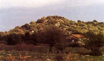 Το ύψωμα Αγγουρέλια (και ο Αι-Γιάννης) στη ΒΑ Λέσβο.