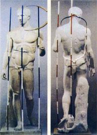 Ο Δορυφόρος (αντίγραφο έργου του Πολυκλείτου, 5ος αι. π.Χ.). Πρόκειται για τον γνωστό «κανόνα», υπόδειγμα τελειότητας.