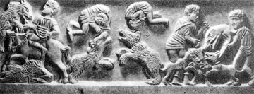 Ακροβάτες και θηριοδαμαστές σε τμήμα μαρμάρινου ανάγλυφου του 5ου αιώνα μ.Χ.