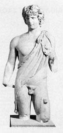 Το άγαλμα του Αντίνοου που βρέθηκε στην Αιδηψό, 2ος αι. μ. Χ. Μουσείο Χαλκίδας.