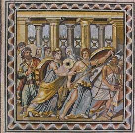 Ψηφιδωτό από το Ζεύγμα, τέλος 2ου-πρώτο τέταρτο 3ου αι. Ο Οδυσσέας ανακαλύπτει τον Αχιλλέα στο ανάκτορο του Λυκομήδη.