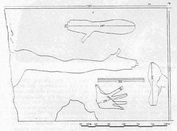 Σχέδιο του μετρολογικού αναγλύφου της Σαλαμίνας από τον αρχιτέκτονα Τ. Τανούλα.