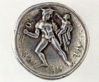 Ο Ερμής με τον μικρό Αρκάδα στην πίσω όψη αργυρού δίδραχμου. 370-369 π.Χ. και αργότερα. Αθήνα, Νομισματικό Μουσείο.