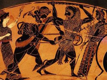 Ο Απόλλωνας προσπαθεί να αποσπάσει τον τρίποδα από τον Ηρακλή. Αττική κύλικα, π. 525-515 π.Χ. Antikensammlungen, Μόναχο.