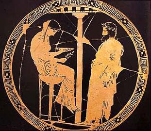 Ο Αιγέας συμβουλεύεται το Μαντείο των Δελφών. Αττική κύλικα, ζωγράφος του Κόδρου, π. 440-430 π.Χ. Antikensammlungen, Βερολίνο.