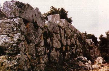 Ο πολυγωνικός τοίχος-άνδηρο στις πηγές Κηφισού.