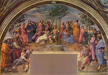 Ραφαήλ, «Ο Παρνασσός», 1509-1510. Stanza della Segnatura, Βατικανό, Ρώμη.