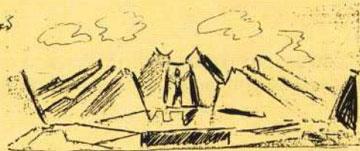 Μακέτα σκηνικού του Κλ. Κλώνη για τον «Προμηθέα δεσμώτη» του Αισχύλου (1963).