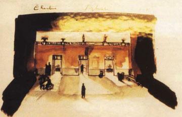 Σκίτσο του Ι. Κόκκου για τα σκηνικά της «Ηλέκτρας» του Σοφοκλή.