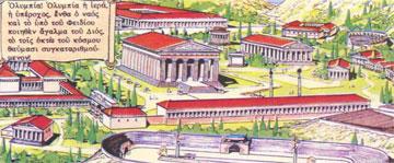 Κτήρια της αρχαίας Ολυμπίας σε κόμικ με τον Αστερίξ.