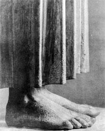 Αν και αθέατα, τα πόδια του Ηνίοχου αποδίδονται ρεαλιστικά.