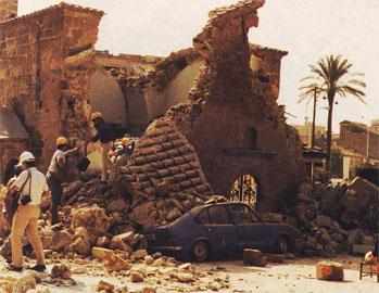 Η εκκλησία των Αγίων Αποστόλων Καλαμάτας μετά από τους τελευταίους σεισμούς.