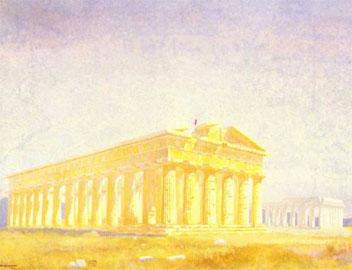Προοπτική άποψη των ναών της Ποσειδωνίας του R. Mirland, 1915 (Παρίσι, ENSBA).