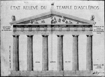 Επίδαυρος, ναός του Ασκληπιού, σχέδιο του Defrasse (1891).