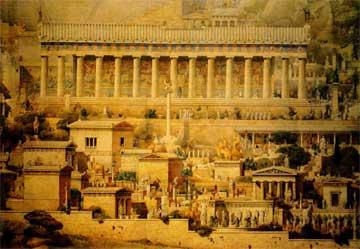 Δελφοί, Ιερά οδός και ναός του Απόλλωνα, λεπτομέρεια της γενικής αναπαράστασης από τον A. Tournaire (1894).