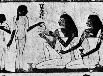 Σκηνή συμποσίου από τη Θήβα της Αιγύπτου, γύρω στο 1400 π.Χ.