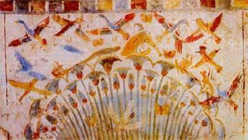 Συστάδα από παπύρους. Αιγυπτιακή τοιχογραφία της 18ης δυναστείας, 1703-1468 π.Χ.