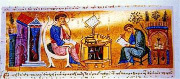 Ο ευαγγελιστής Λουκάς και ο Θεόφιλος. Μικρογραφία του 12ου-13ου αι. από τον κώδικα αρ. 234 της Μ. Παντοκράτορος Αγίου Όρους.