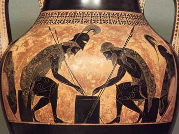 Ο Αίας και ο Αχιλλέας παίζουν ζάρια σε μελανόμορφο αμφορέα του Εξηκία, Μ. Βατικανού (344). (Πηγή: The Beazley Archive online).