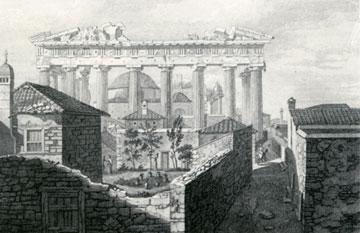 Χαρακτικό των J. Stuart και N. Revett. Διακρίνεται το τζαμί που είχε ανεγερθεί από τους Τούρκους στο εσωτερικό του Παρθενώνα.