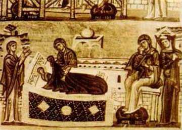 Μικρογραφία Κοκκινοβάφου. Η Ευχαριστήρια Προσευχή της Άννας.