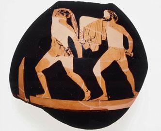 Οι τυραννοκτόνοι Αρμόδιος και Αριστογείτων σε ερυθρόμορφη οινοχόη. Περίπου 400 π.Χ., Museum of Fine Arts, Βοστώνη.