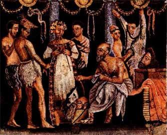 Ετοιμασίες για την παράσταση. Λεπτομέρεια μωσαϊκού από την Πομπήια (Εθνικό Μουσείο Νεαπόλεως).