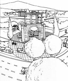 Κύκλος από ανοιχτόχρωμες πλάκες που «απομονώνουν» την πύλη του Αδριανού. Σχέδιο του Philippe Fraisse.