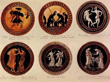 Υδατογραφίες του Σιμονάκη που προορίζονταν να διακοσμήσουν πιάτα τοίχου.