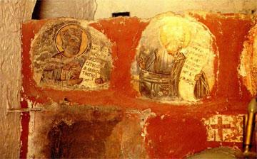 Τοιχογραφίες των Αγίων Σεργίου και Βάκχου στο ναό του Αγίου Θεοδώρου Κυθήρων.