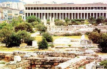 Ερείπια του Γυμνασίου που ανήγειρε ο Ηράκλειος στην αρχαία Αγορά.