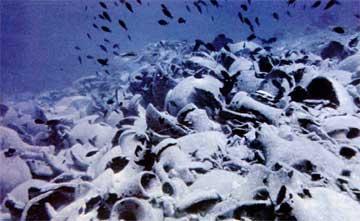 Φόρτωμα πλοίου που βυθίστηκε, σωροί από αμφορείς σημαδεύουν αλάθητα τη θέση του ναυαγίου.