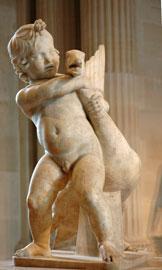 Παιδί που παίζει με χήνα. Ρωμαϊκό αντίγραφο (1ος-2ος αι. μ.Χ.) αγάλματος του Βόηθου. Μουσείο του Λούβρου, Παρίσι.