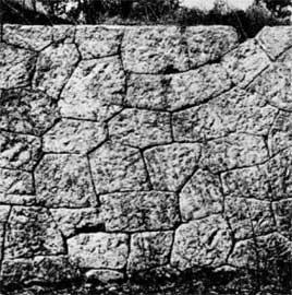 Τοιχοδομία με καμπυλόσχημους αρμούς. Το παλαιότερο μέχρι σήμερα δείγμα είναι το Πρώτο Τελεστήριο στην Ελευσίνα (7ος αι. π.Χ.).