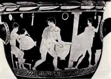 Σκηνή από κεραμικό εργαστήριο σε ερυθρόμορφο κρατήρα, 5ος αι. π.Χ. (Oxford, Ashmolean Museum).