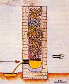 Σχέδιο αρχαίου καμινιού με εσωτερική διάμετρο 1 μέτρο.