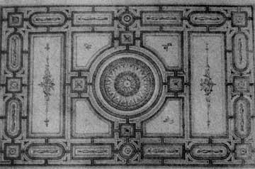 Ερνέστος Τσίλερ, σχέδιο για οροφή στην Οικία Ψύχα, 1875.