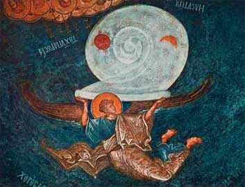 Η Δευτέρα Παρουσία: Άγγελος με το στερέωμα του ουρανού (Μονή της Χώρας).