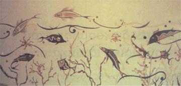 Θαλάσσιος ρυθμός, 1977. Χαμένη τοιχογραφία. Village Inn, Πόρτο Καρράς (φωτοθήκη Μουσείου Γιαλούρη).
