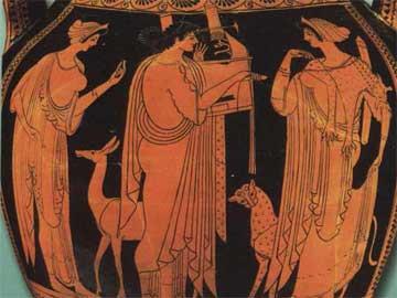 Ο θεός Απόλλωνας κιθαρίζει ανάμεσα στη μητέρα και την αδελφή του. Παράσταση από ερυθρόμορφο αμφορέα του 6ου αι. π.Χ.
