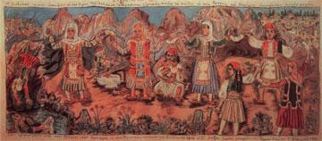 Ο χορός του Ζαλόγγου. Έργο του Θεόφιλου, 1929.