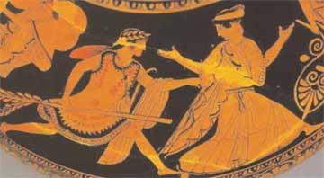 Ο θεός Απόλλωνας κυνηγά τη νύμφη Δάφνη. Παράσταση από ερυθρόμορφο αγγείο του 5ου αι. π.Χ., Βρετανικό Μουσείο, Λονδίνο.